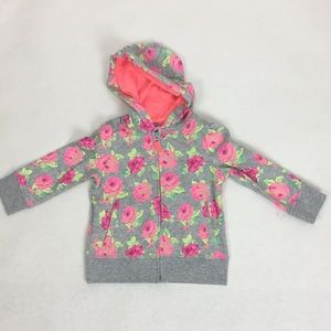 Circo Toddler Rose Floral Zip Hoodie Sweatshirt 2T